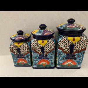 Talavera canister Cobalt blue multicolored set 3